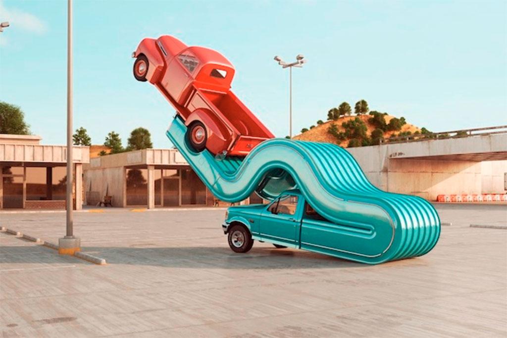 auto elastiek kunst 3D