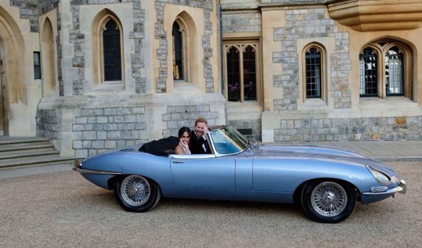 elektrische jaguar e-type bij het britse huwelijk van prins Harry
