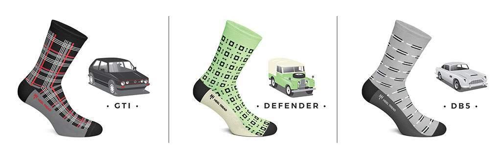 sokken geïnspireerd op klassieke auto's
